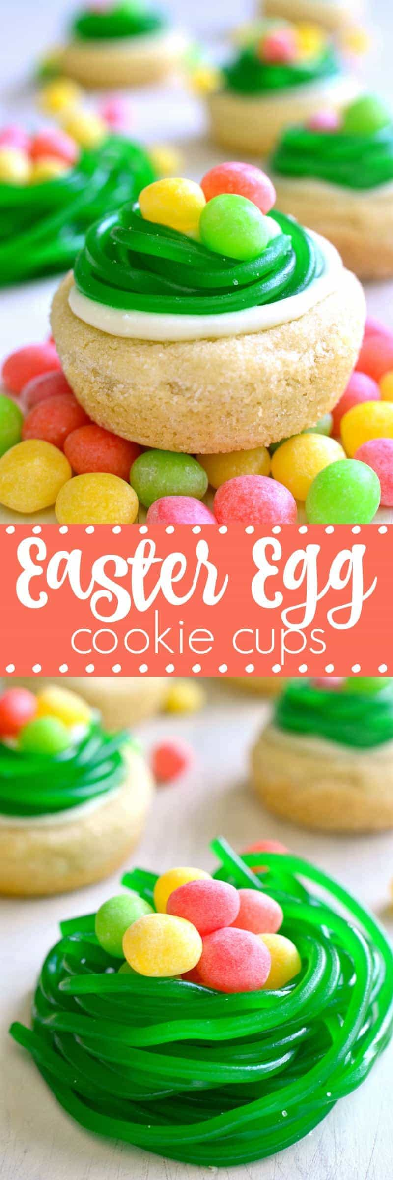 These Easter Egg Cookie Cups are easy, adorable, and so delicious! Made with sugar cookie dough, lemon buttercream, and 2 types of Easter candy, they're the perfect addition to any spring celebration!