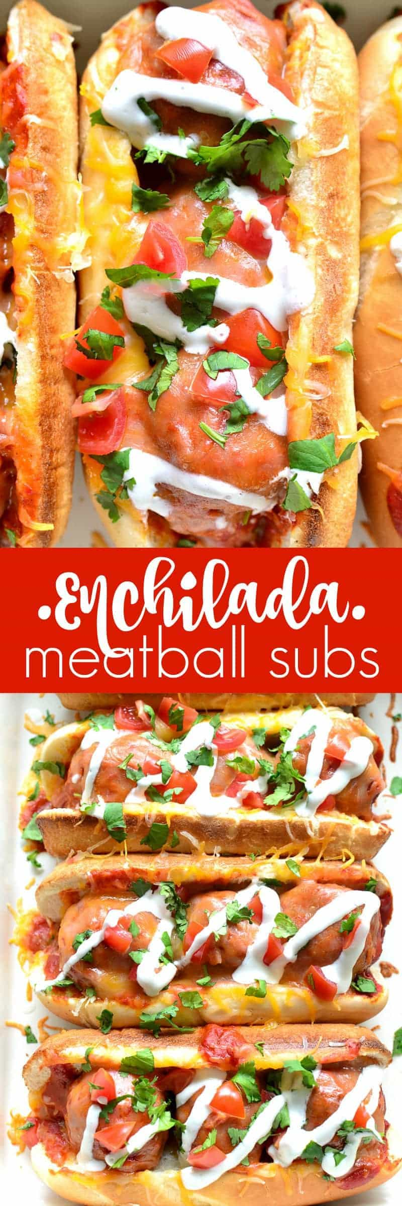 These Enchilada Meatball Subs combine two family favorites in one delicious dish that's easy to make and perfect for busy weeknights!