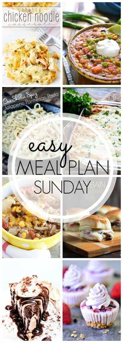 This EASY Meal Plan has everything you need for the week! 6 dinners, 1 breakfast, and 2 desserts....all in one place....to make your life easier!