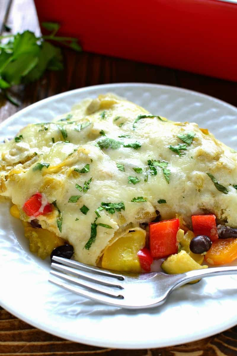 These Roasted Vegetable Enchiladas are packed with fresh veggies, corn ...