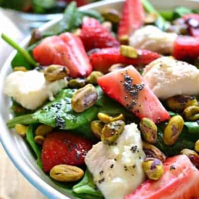 This Strawberry Spinach Salad is an AMAZING twist on a summer favorite! This salad is sure to become your new go-to for picnics, cookouts, and quick meals