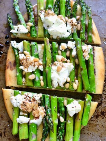 asparagus goat cheese flatbread, cut into 3 slices