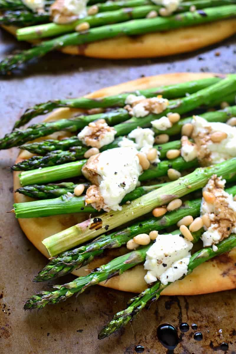 flatbread with grilled asparagus, goat cheese, and pine nuts
