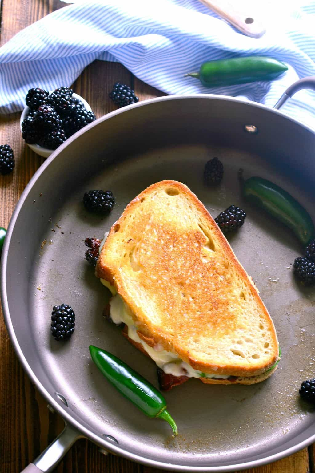 best grilled cheese sandwich cooking in a pan