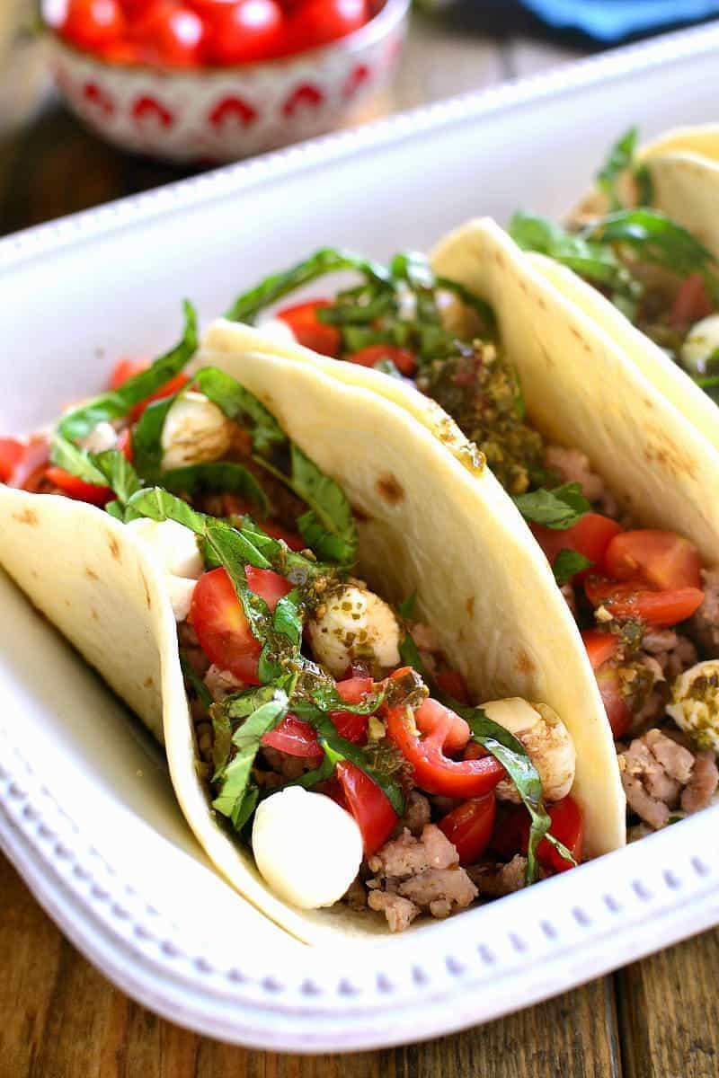 a platter of Caprese Tacos