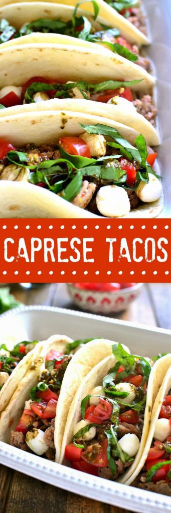 titled photo collage - Caprese Tacos (Italian Tacos)
