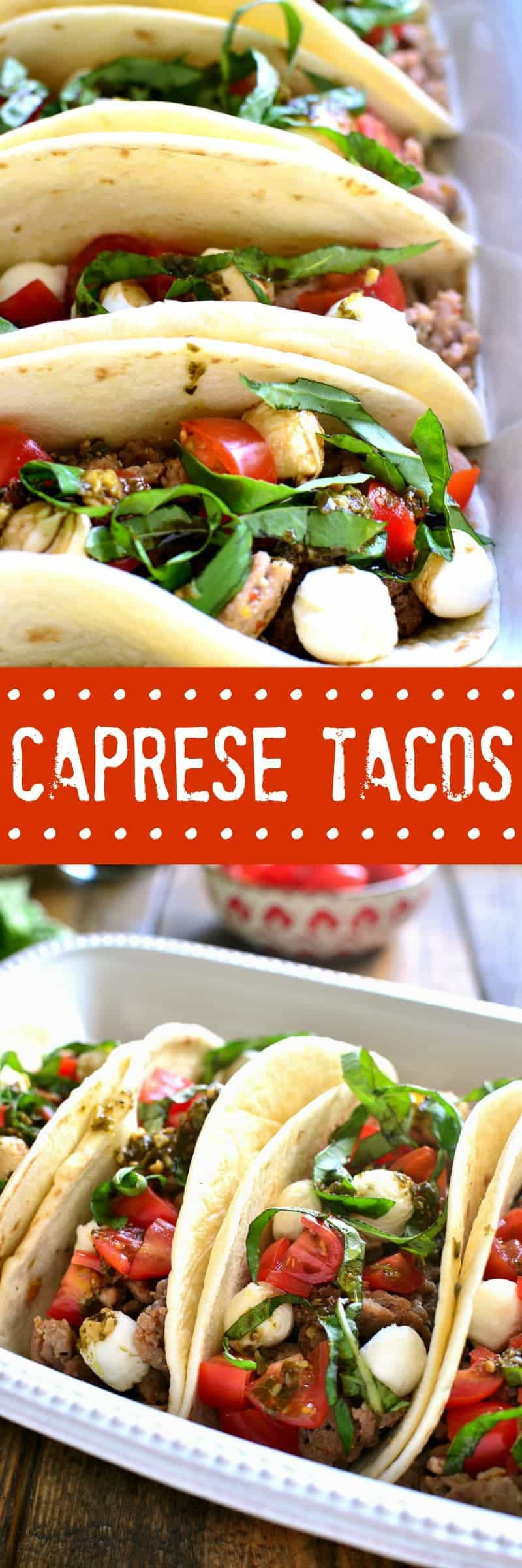 Caprese Tacos combine the classic flavors of caprese salad with a go-to family favorite - tacos! These tacos are made with Italian seasoning and make an easy, delicious weeknight meal!