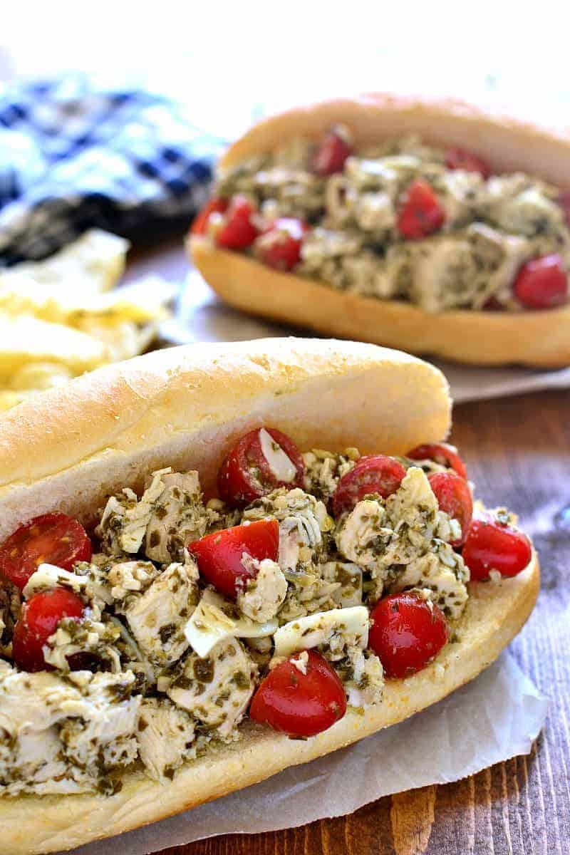Pesto Chicken Salad Sandwiches on hoagie buns