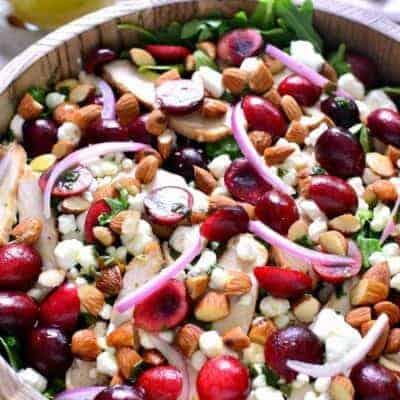 Cherry Almond Arugula Salad