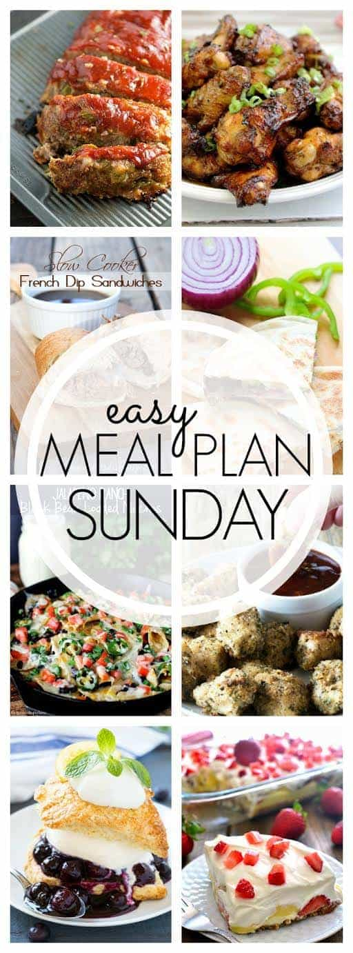 This Easy Weekly Meal Plan has 6 dinners, a breakfast, and 2 desserts - everything you need to make your week easier!