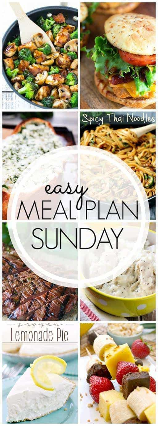 This EASY MEAL PLAN has everything you need to make your week easier! 6 meals, 1 breakfast and 2 desserts...all from your favorite bloggers.