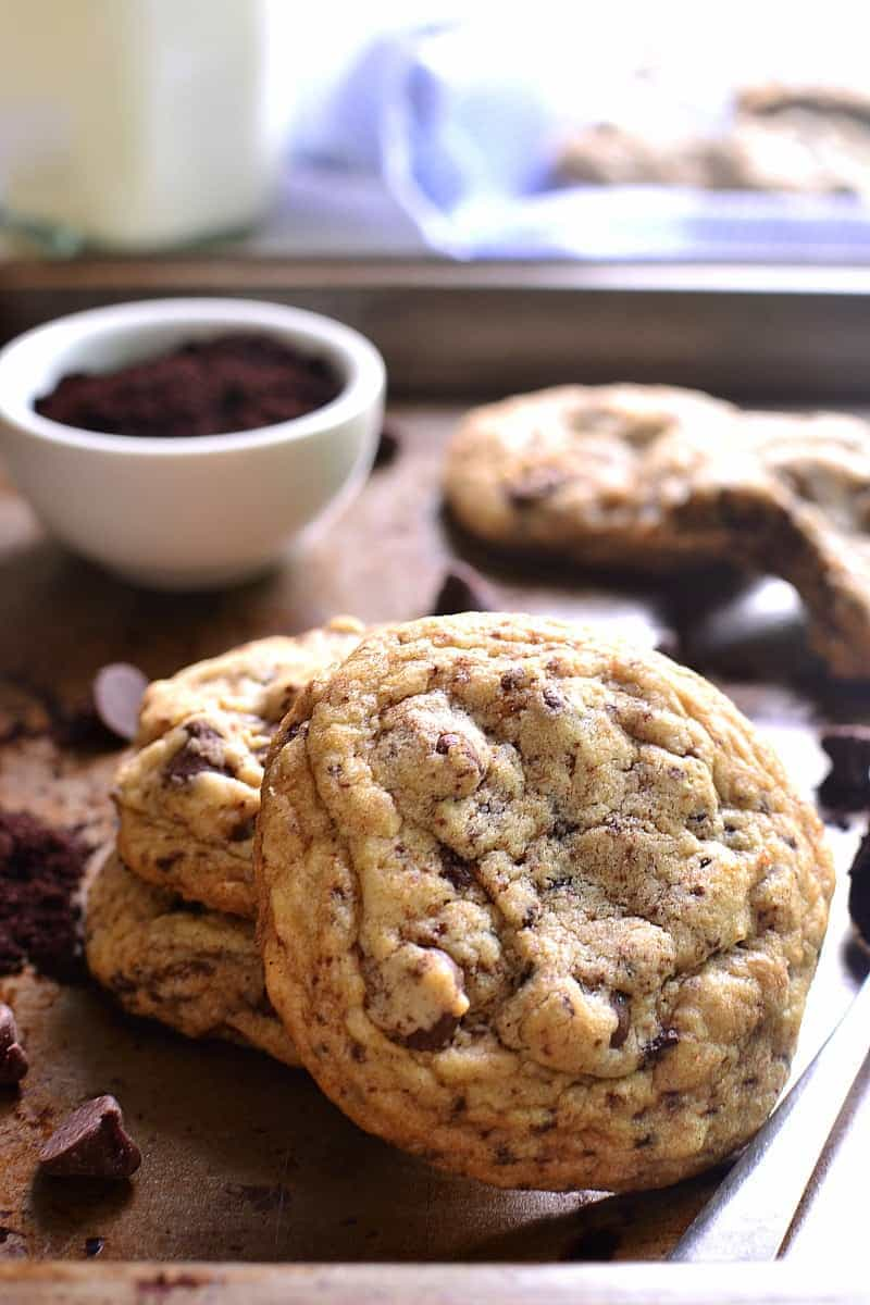 These Espresso Chocolate Chip Cookies are the perfect marriage of two amazing flavors. Packed with chocolate chips and infused with rich espresso flavor, they're a chocolate/coffee/sweet lover's dream!