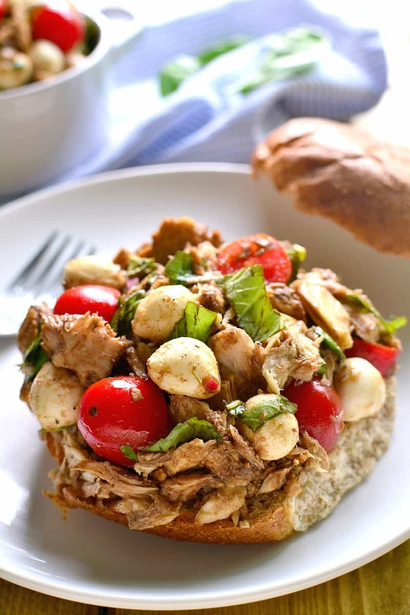 Move over, mayo...this Caprese Tuna Salad is just the fresh twist you've been looking for. Made with fresh mozzarella, basil, tomatoes, and balsamic vinaigrette, it's delicious in a sandwich or all on its own!