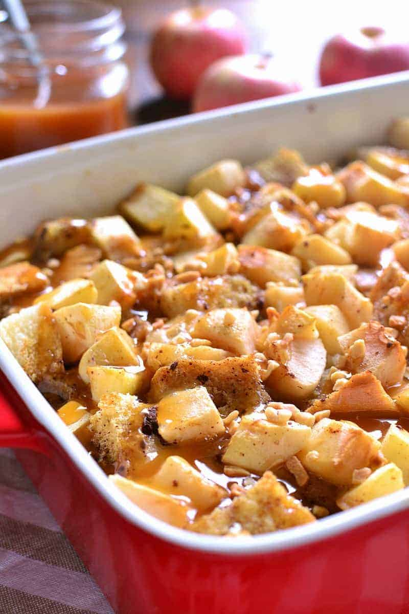This Caramel Apple French Toast Casserole combines all the flavors of your favorite treat in a delicious breakfast bake that's perfect for fall...or anytime you're craving caramel apples!