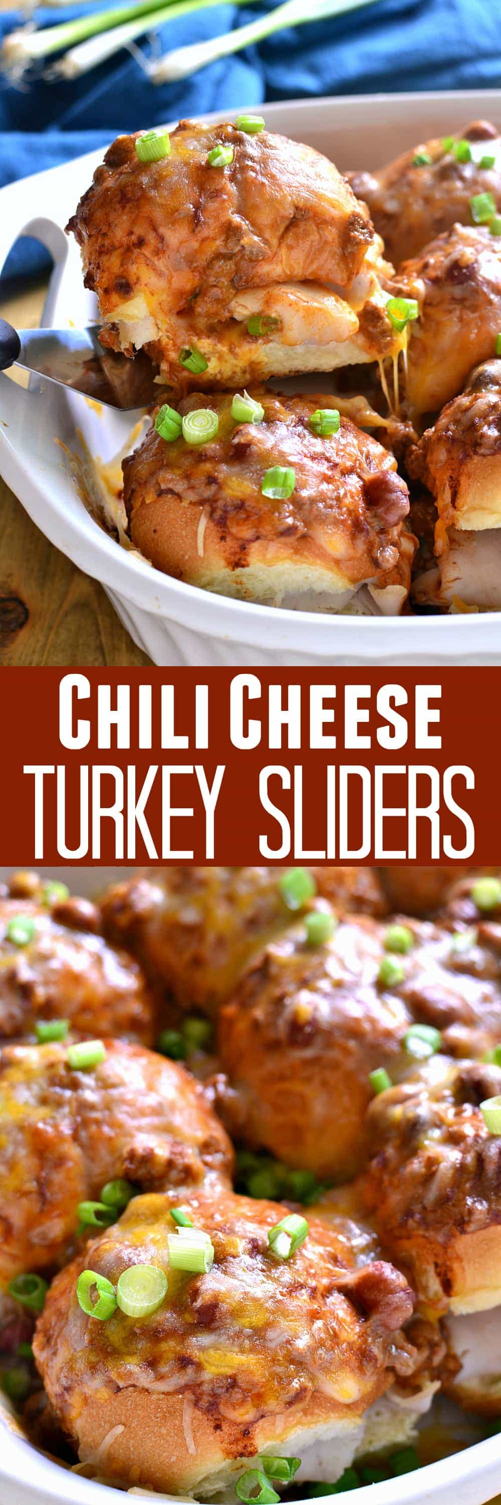 These Chili Cheese Turkey Sliders are packed with turkey and two kinds of cheese, then smothered in chili, cheese, and green onions. Perfect for game day or a quick & easy {make-ahead} weeknight dinner!