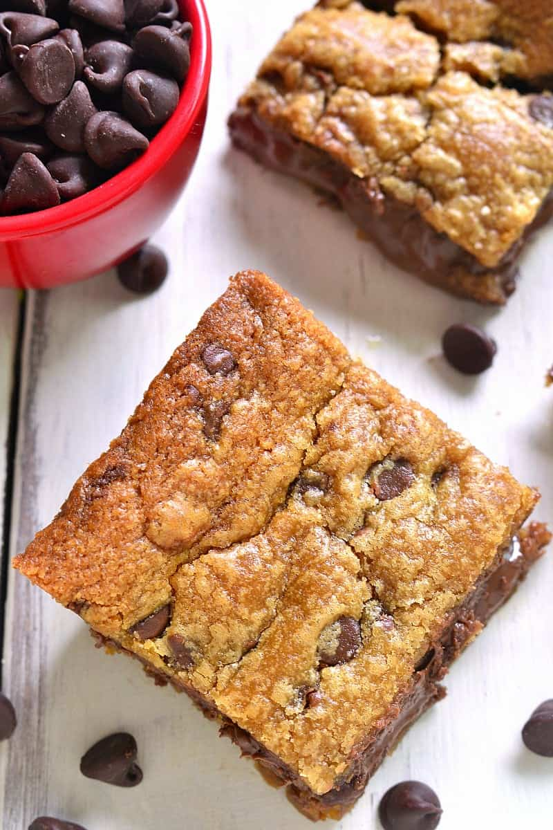2-ingredient Chocolate Filled Peanut Butter Cookie Bars. Oven ready in under 5 minutes, and SO delicious!