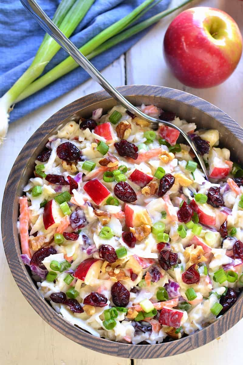 Apple Cranberry Coleslaw is the perfect way to mix things up for fall! Loaded with fresh apples, dried cranberries, chopped walnuts, and green onions, this coleslaw is crunchy, sweet, and so delicious!