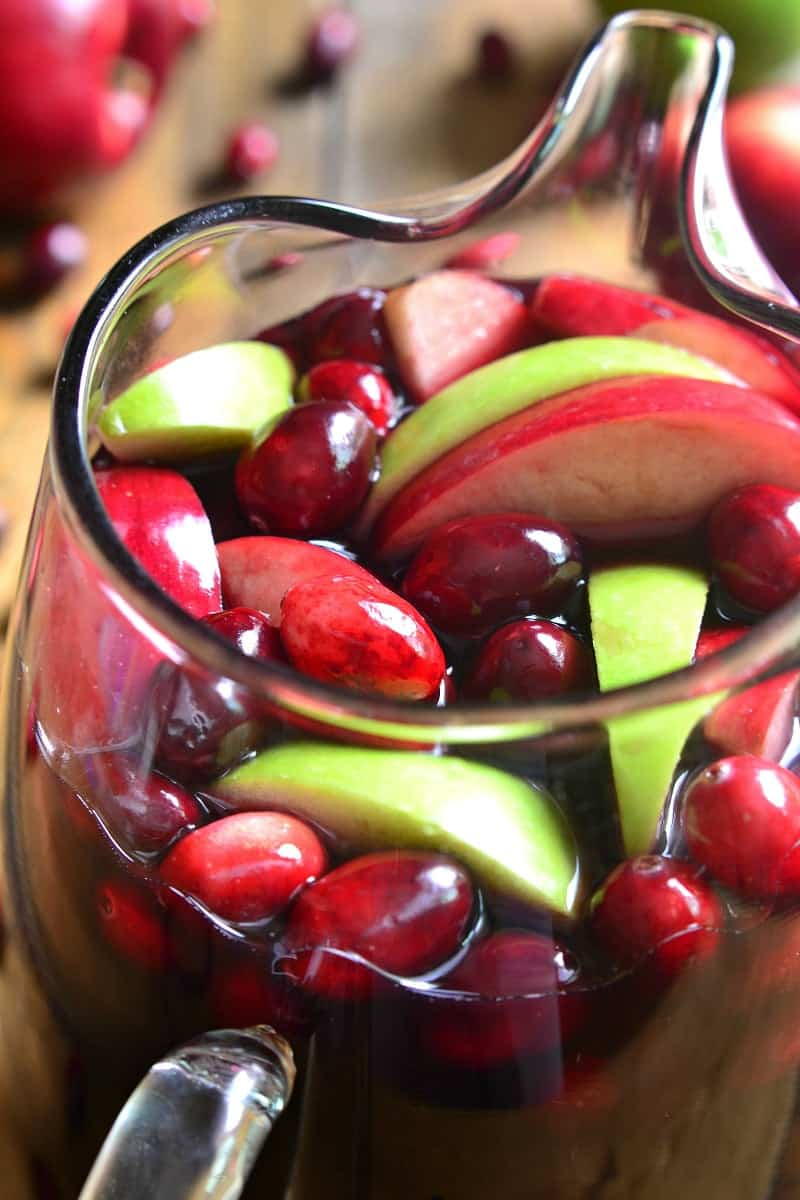 Cranberry Apple Sangria in pitcher