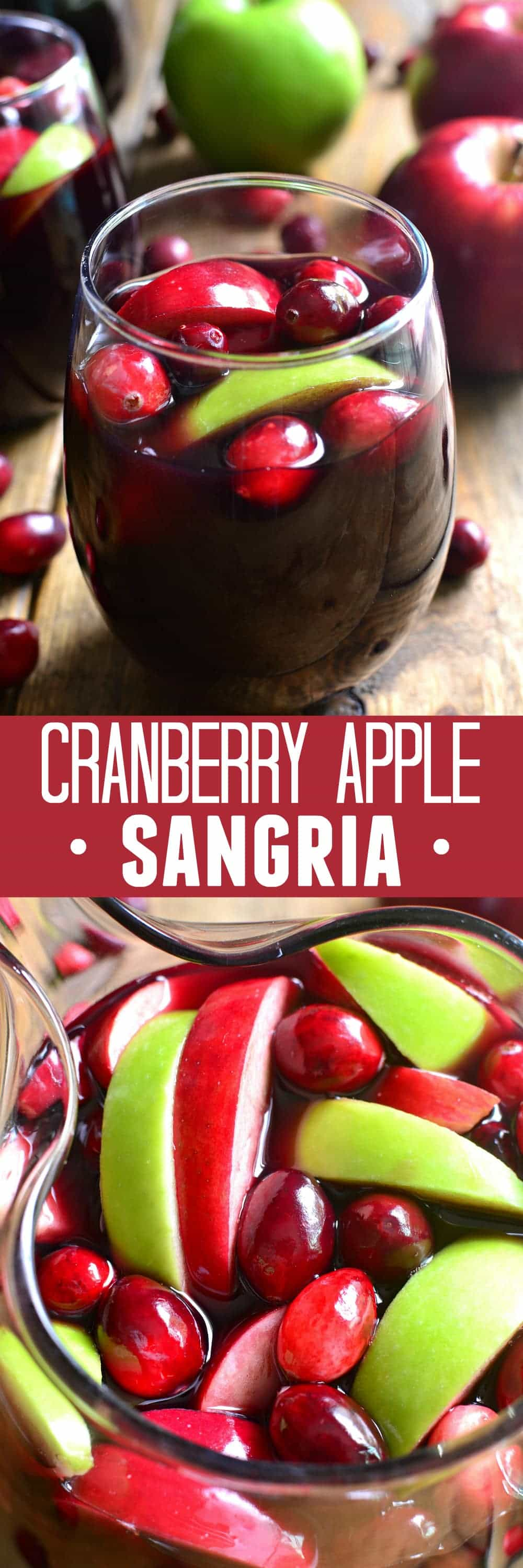 Collage image of Cranberry Apple Sangria