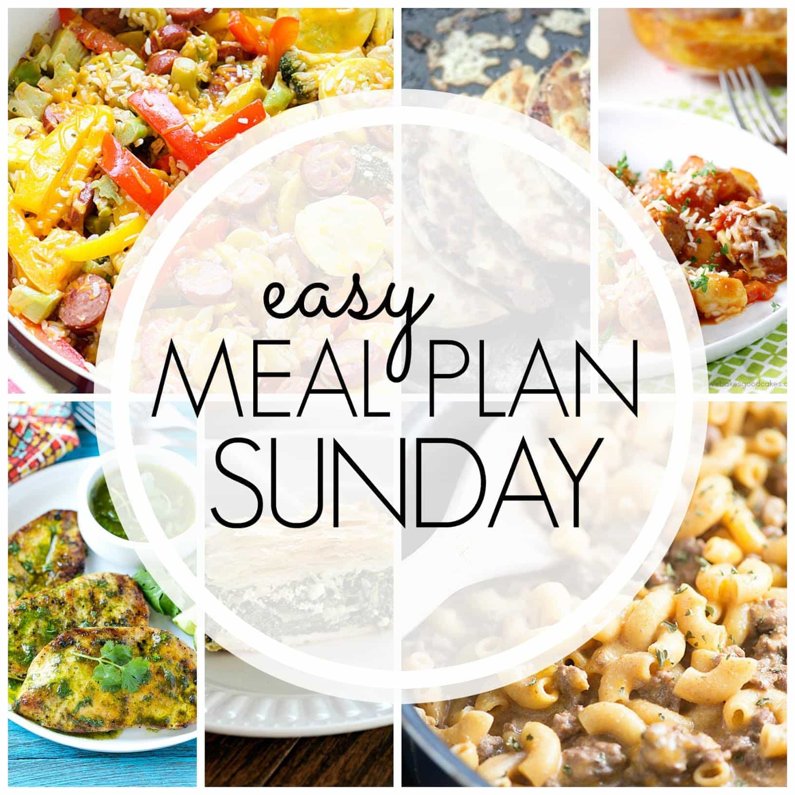 The BEST weekly meal plan around! We've collected 6 dinners, 1 breakfast, and 2 desserts....all tried and true and guaranteed to make your life easier!