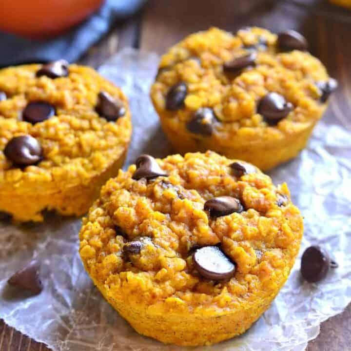 Pumpkin Chocolate Chip Baked Oatmeal Muffins