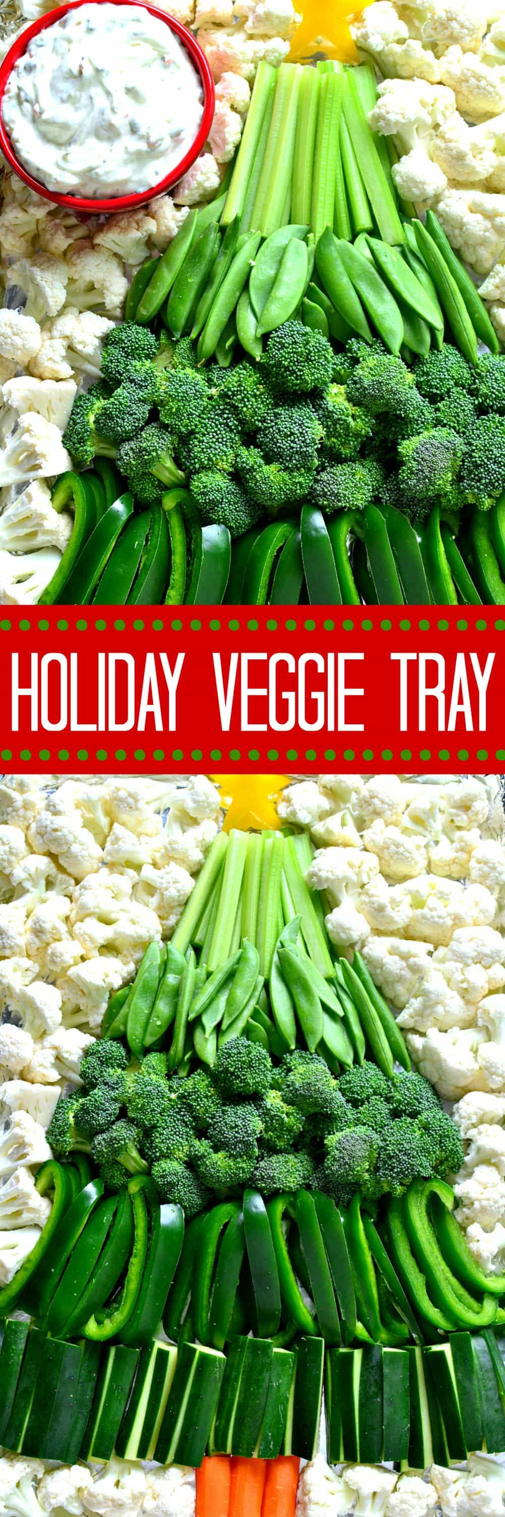 This Holiday Veggie Tray comes together quickly with just a handful of fresh vegetables and Marzetti Veggie Dips! Perfect for holiday parties and sure to be a hit!