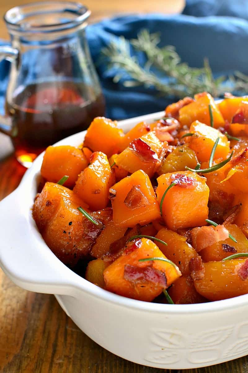 This Maple Bacon Roasted Butternut Squash is sweetened with real maple syrup and mixed with crispy bacon. The perfect addition to your holiday menu....guaranteed to become a new favorite!