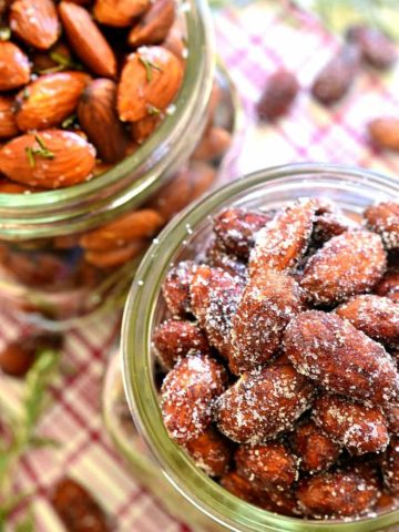 Roasted almonds, two ways! Cinnamon Honey Roasted Almonds AND Rosemary Olive Oil Roasted Almonds. One savory, one sweet, both equally delicious and perfect for holiday gifting!