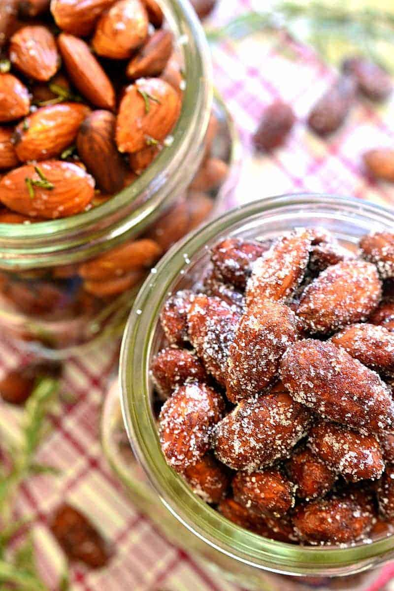 Cinnamon Honey Roasted Almonds & Rosemary Olive Oil Roasted Almonds - one savory, one sweet, both equally delicious and perfect for holiday gifting!