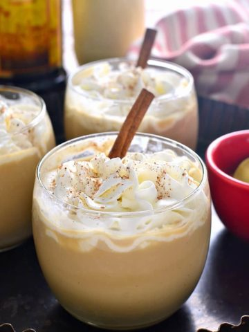 An Eggnog Mudslide is a delicious twist on a classic cocktail! This festive drink will put you in the holiday spirit. Perfect addition to all your celebrations!