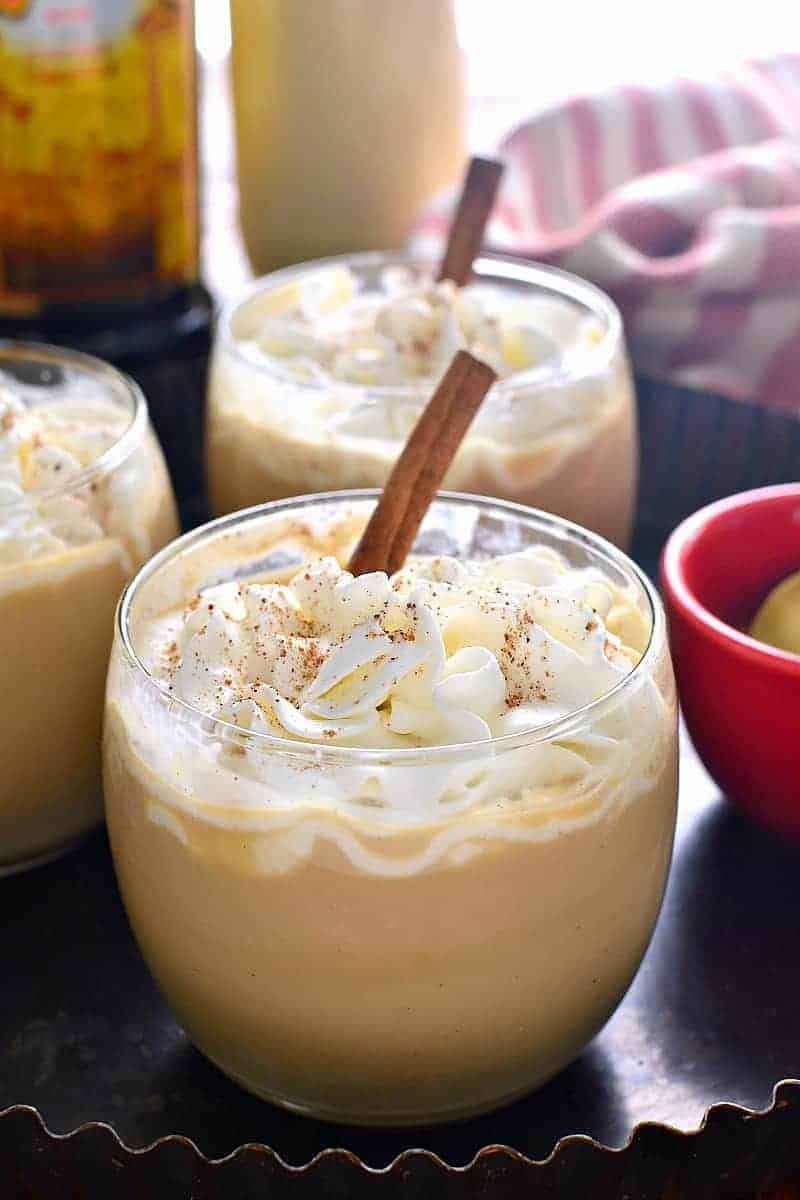 Eggnog Mudslides are a delicious holiday twist on a classic cocktail! The perfect way to start or end your holiday celebration!