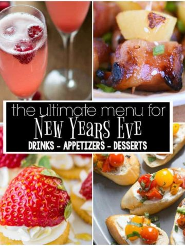 The ULTIMATE New Year's Eve Menu with 18 recipes for drinks, appetizers, and desserts. Everything you need to ring in the new year in the most delicious way!