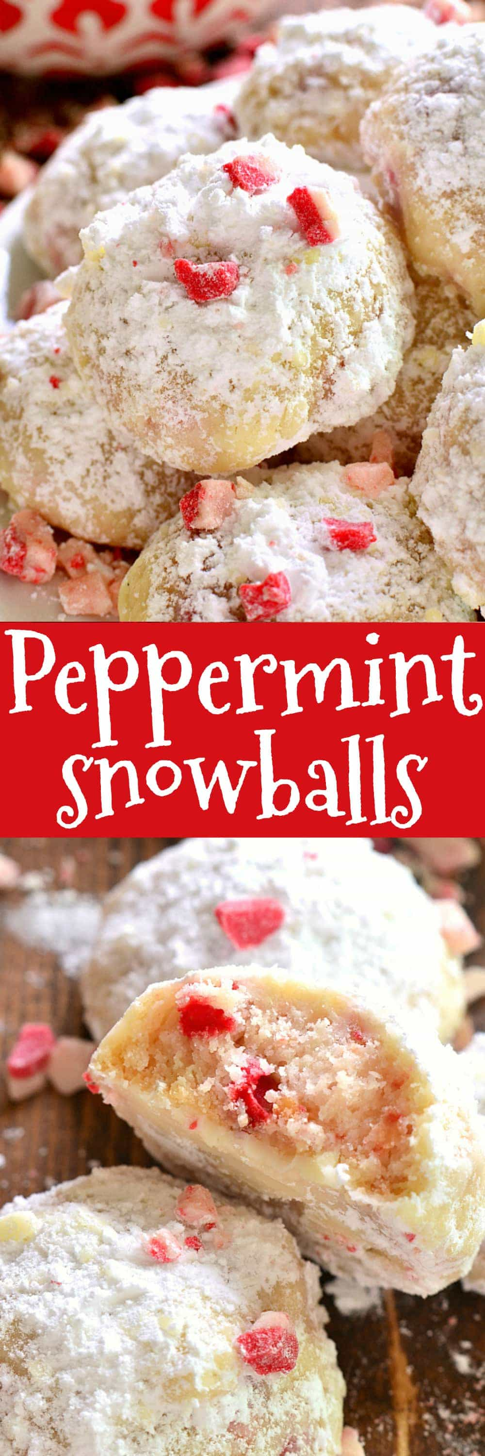 Peppermint Snowballs are the perfect holiday twist on a classic! Packed with delicious peppermint flavor and just the right amount of crunch, these cookies are a must make for all your holiday baking!