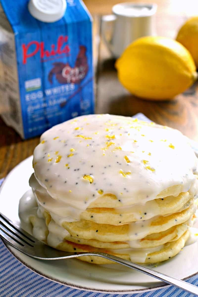 Lemon Poppy Seed Pancakes are light, fluffy, and bursting with lemon ...
