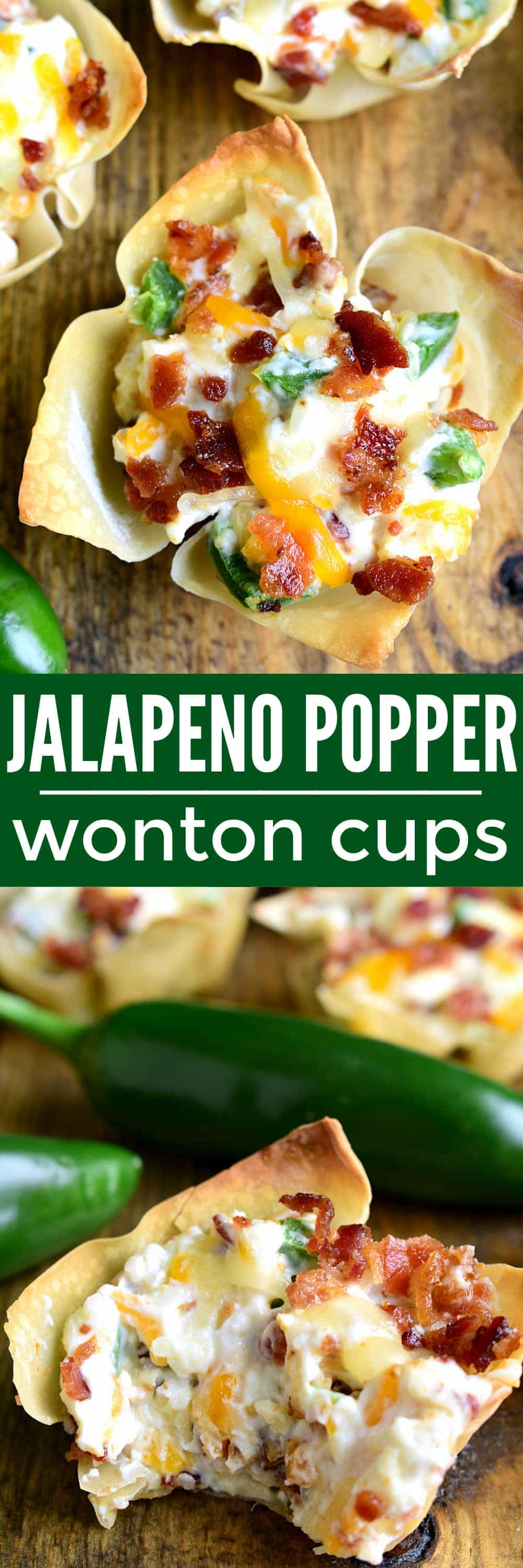 Collage image of Jalapeno Popper Wonton Cups