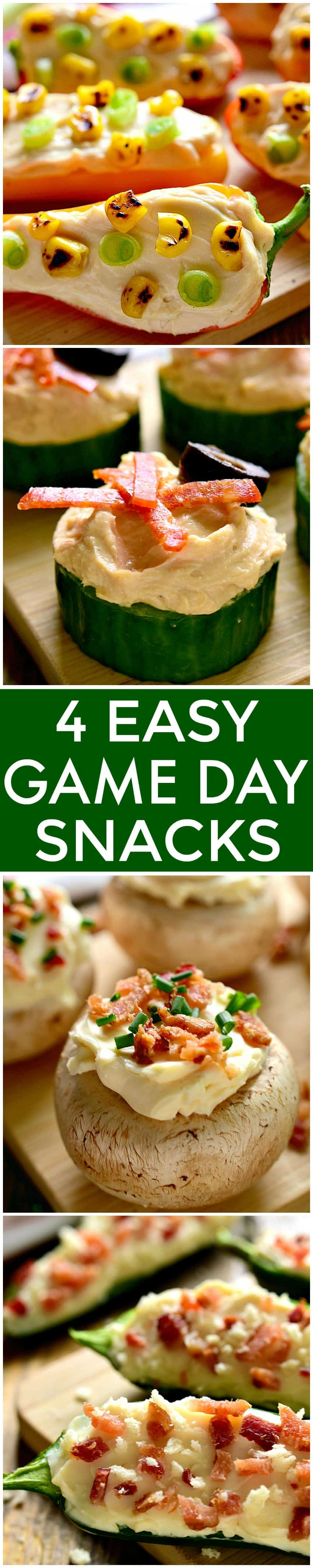4 Easy Game Day Snacks, each made with just 4 ingredients! Perfect for game days, parties, or anytime you're looking for an easy, delicious, satisfying snack!