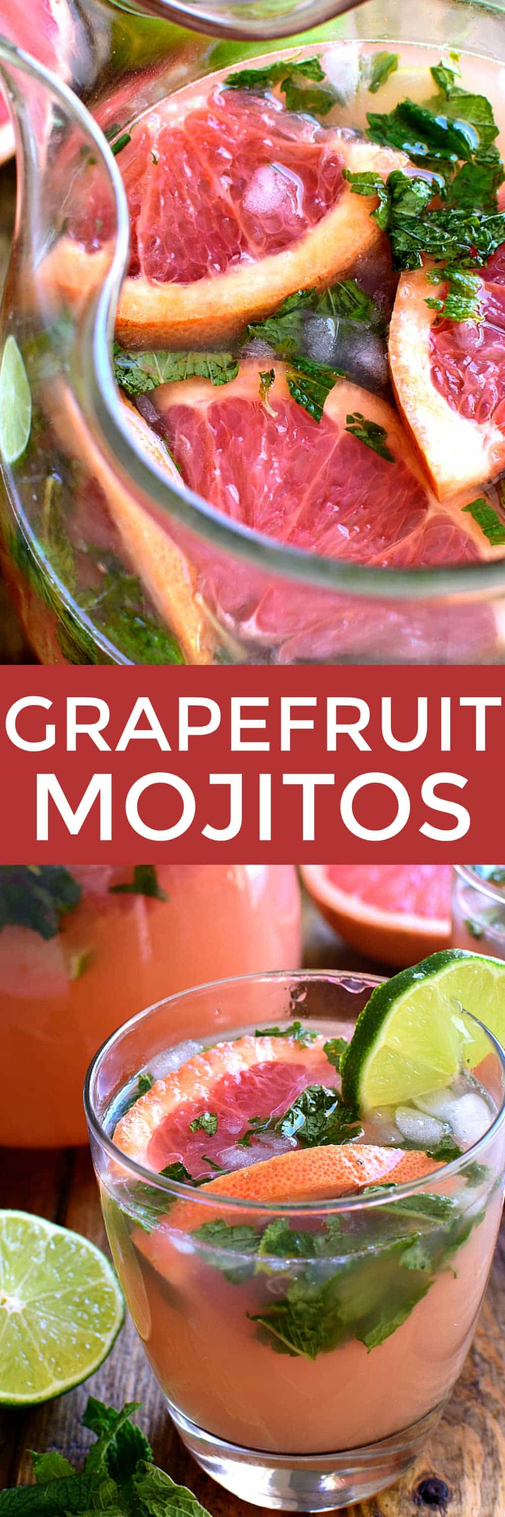 Grapefruit Mojitos are a delicious twist on a classic mojito. These easy mojitos combine grapefruit juice, lime juice, mint, and rum in a refreshing drink
