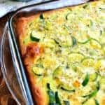 Cheesy Zucchini Bake is one of my favorite ways to use garden zucchini! This delicious meatless recipe with eggs is great for breakfast, lunch, or dinner...and so easy to make!