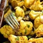 sheet pan of curry roasted cauliflower