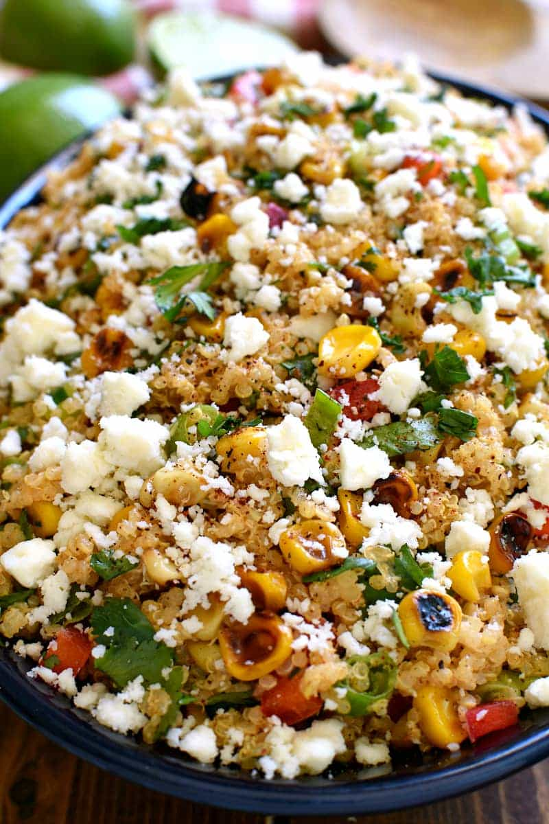 overhead image of a bowl with Mexican spiced quinoa salad