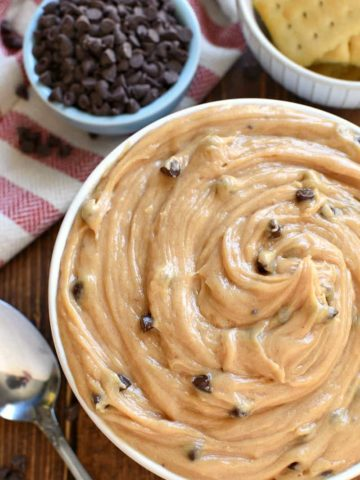 bowl of peanut butter chocolate chip dip