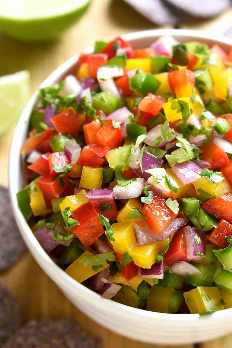 This Bell Pepper Salsa is a deliciously fresh, crisp alternative to classic salsa! Perfect for summer dipping!