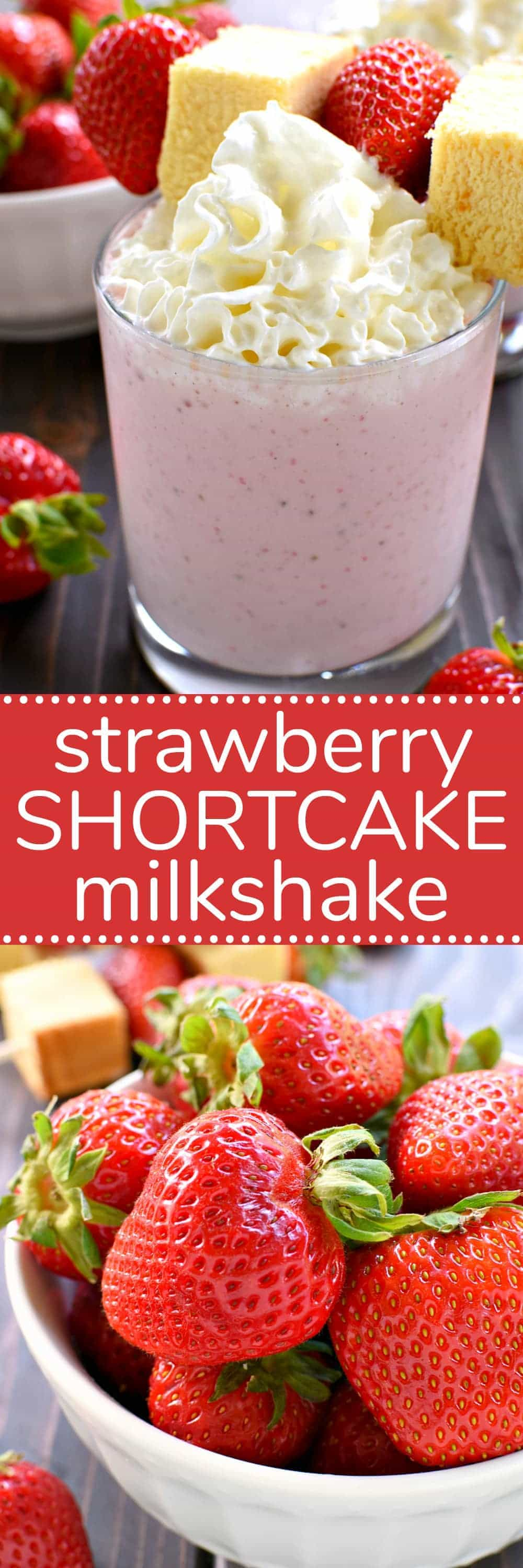 This Strawberry Shortcake Milkshake is the perfect summer treat! All the flavors of strawberry shortcake in one delicious glass....and ready in no time at all! If you love shortcake you'll LOVE this easy summer twist!