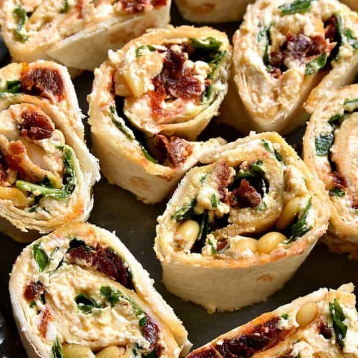 Spinach Goat Cheese Sun Dried Tomato Pinwheels