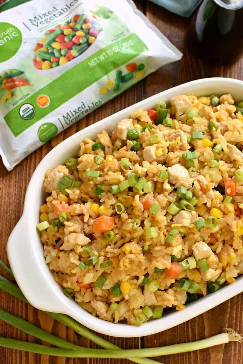 Better than Takeout Chicken Fried Rice - made with just 6 ingredients and ready in 15 minutes! The perfect EASY dinner or side dish...just in time for back to school!