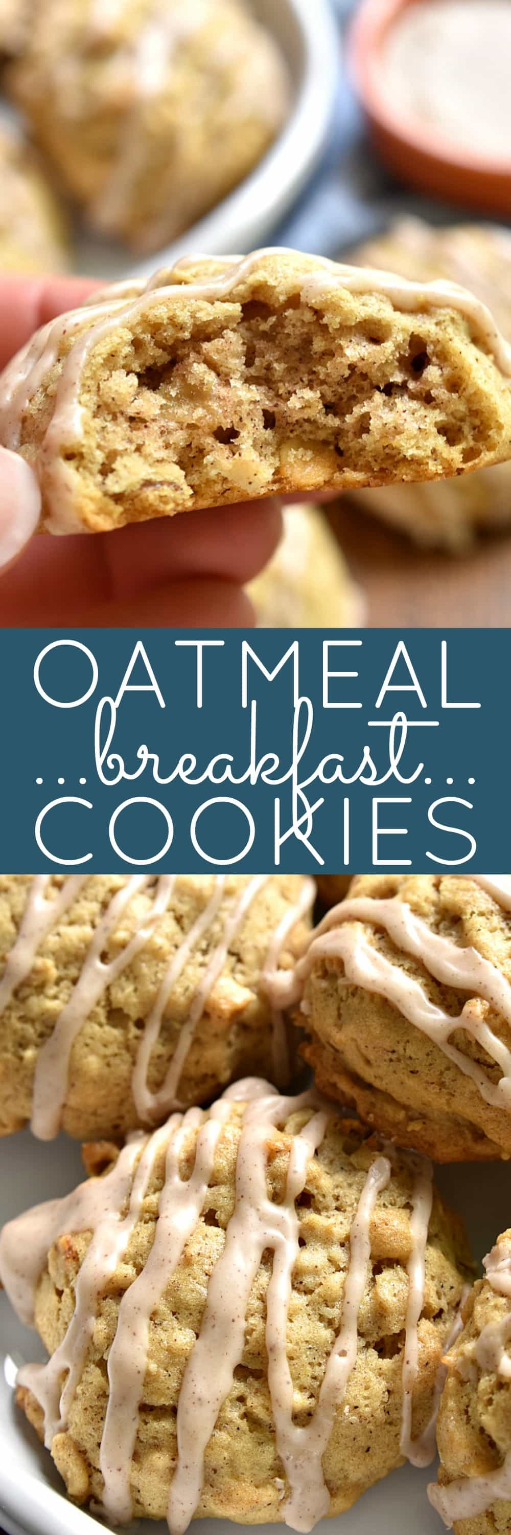 These Oatmeal Breakfast Cookies are packed with flavor and perfect for busy mornings! Topped with a sweet cinnamon glaze, they're every kid's dream....and just in time for back to school!