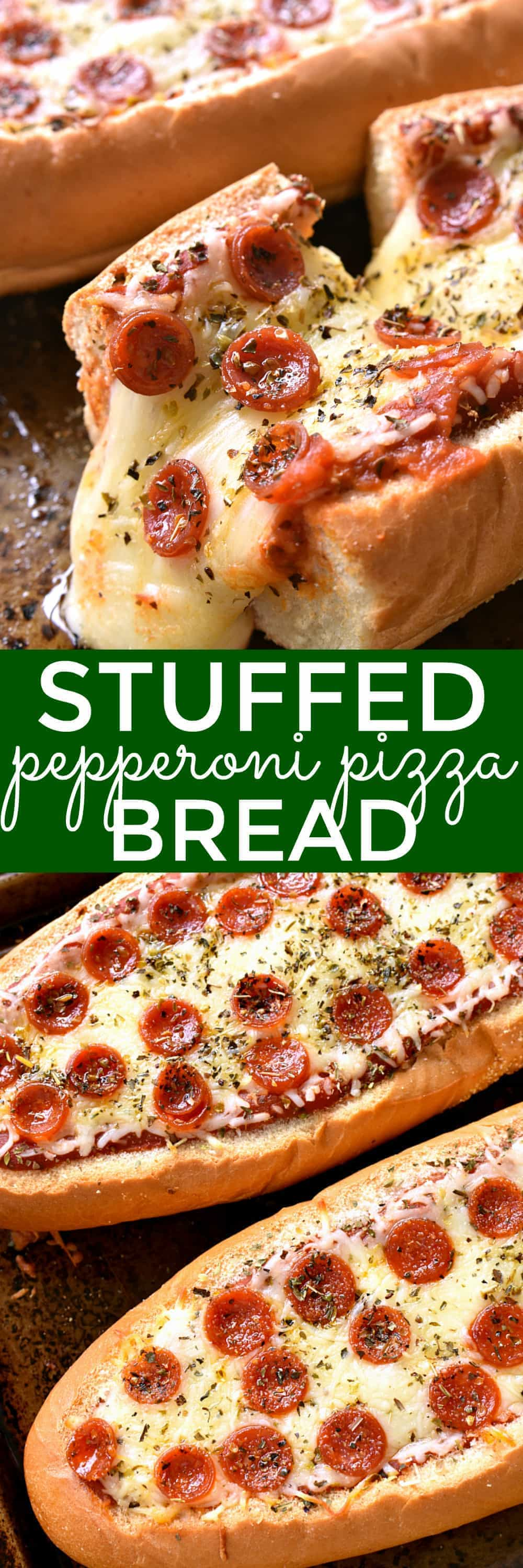 This Stuffed Pepperoni Pizza Bread is the ULTIMATE easy comfort food! Perfect for weeknight dinners, game days, sleepovers, or parties...and it doubles as an appetizer!