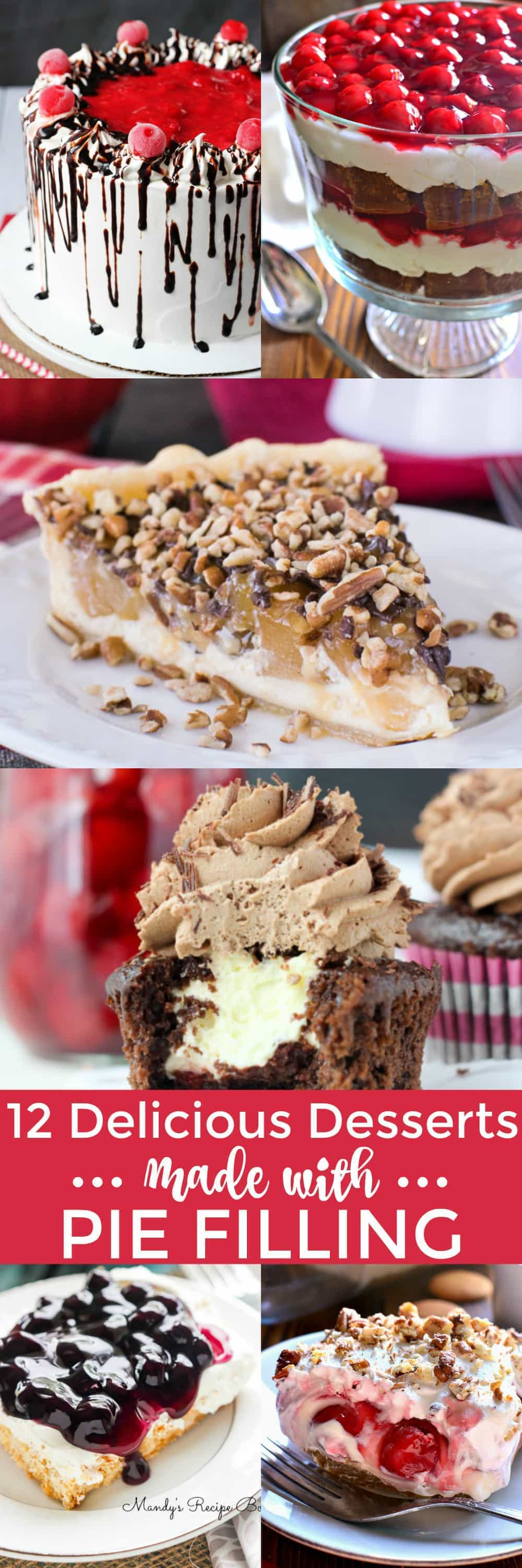 12 Delicious Desserts to help get you ready for the holidays! These treats are perfect for all your holiday gatherings, and they're all made with pie filling! Which means they not only taste great, but they're easy to whip up during the busiest time of year.