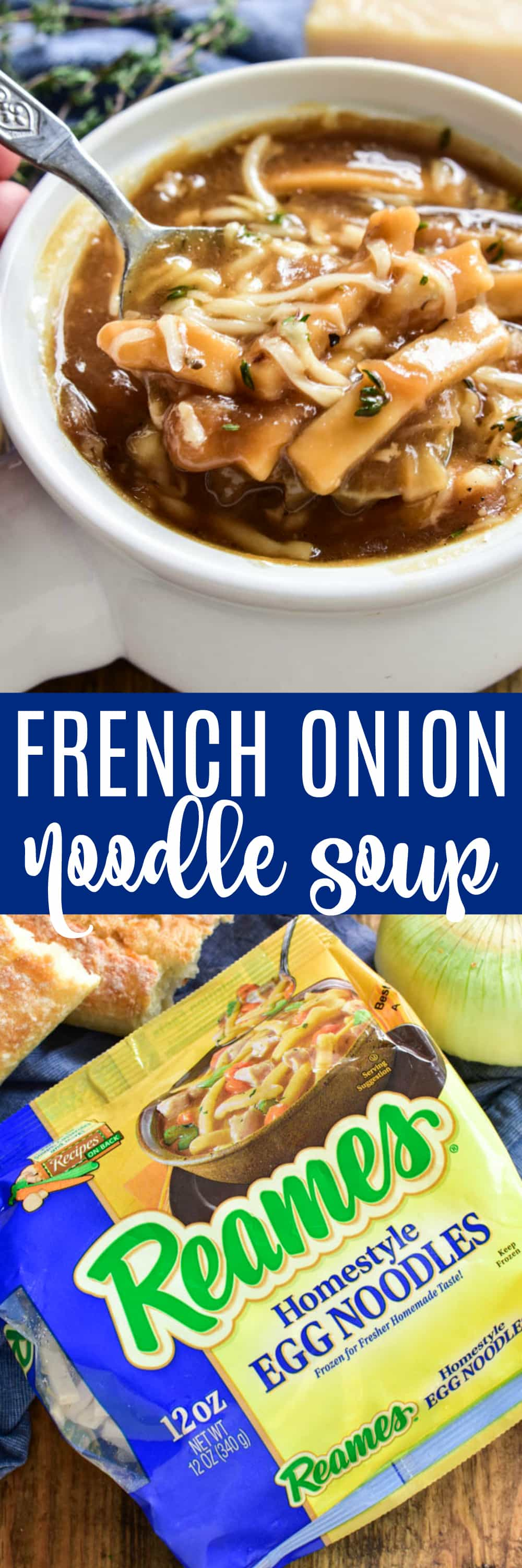 Take your love of soup to the next level with this delicious French Onion Noodle Soup. All the flavors of the classic French Onion Soup, with the added bonus of noodles! This soup is thick, hearty, and packed with flavor. It makes a great weeknight dinner and is also perfect for serving to guests or cozying up to on a lazy fall weekend. If you love French Onion Soup, you're going to fall in love with this comforting, delicious twist!