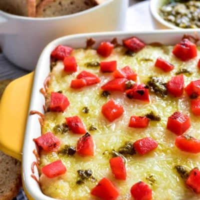 Cheesy Pesto Artichoke Dip